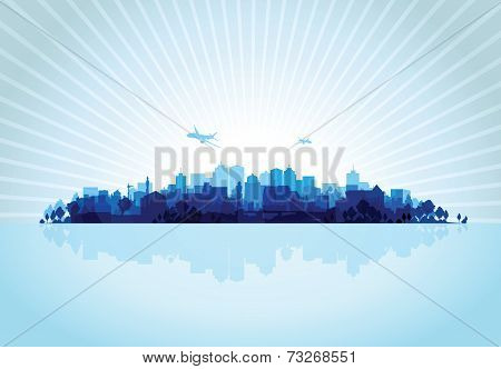 blue cityscape overprint background
