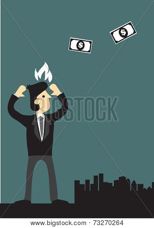 Businessman Angry At Money Flying Away Vector Illustration