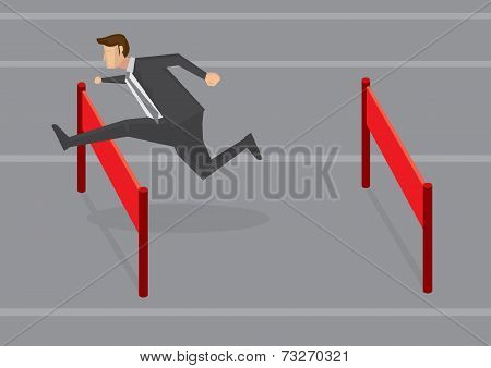 Businessman Jumping Hurdles Vector Illustration
