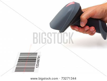 Woman Hold Scanner And Scan Barcode With Laser