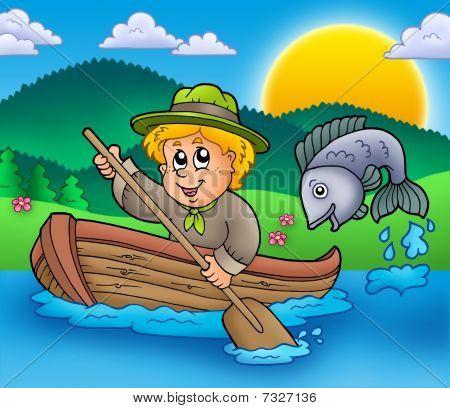Scout Boy In Boat