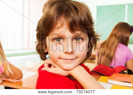 Portrait of cute boy looking straight in classroom