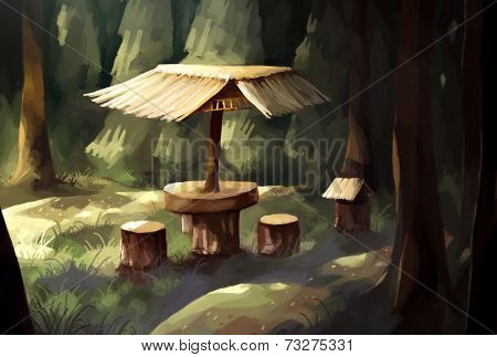 digital painting forest breaking spot