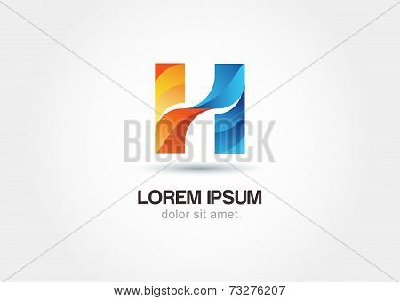 Abstract Multicolor Logo Design Letter H Isolated On White Background. Vector Logo Icon Template