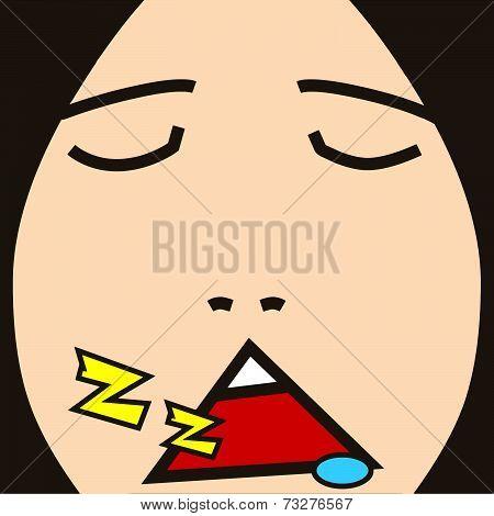 cartoon face expression sleep