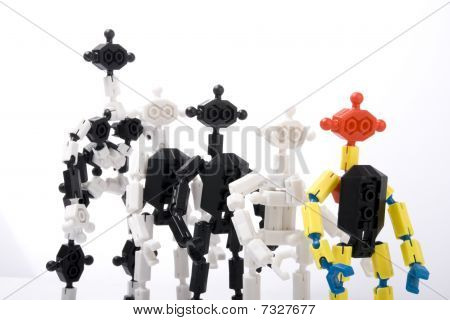 Toy Bricks People In A Queue