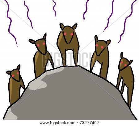 cartoon animal emotion hyena team