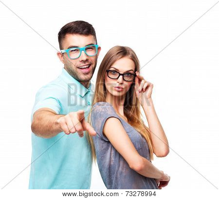 Beautiful Young Happy Couple Smiling, Man And Woman Looking At Camera, Isolated Over White