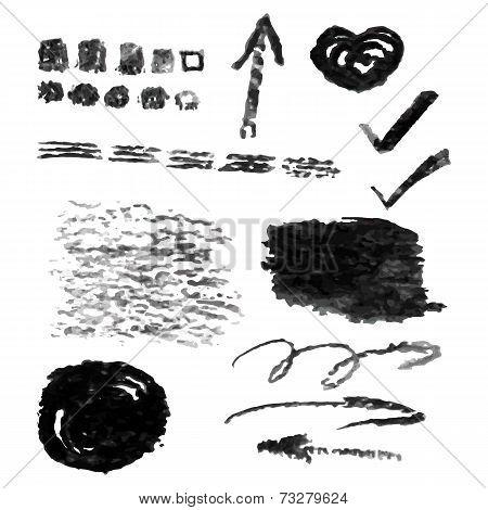 Set of vector charcoal design elements