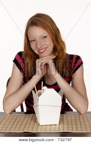 Pretty Red Head with Chinese Noodles