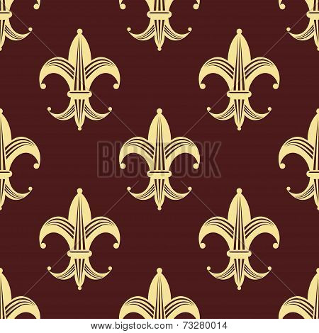 Seamless background pattern of yellow fleur de lys