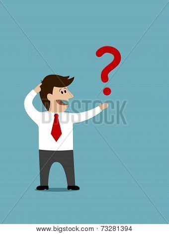 Cartoon man holding a question mark