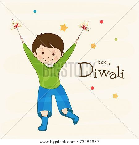 Little cute boy holding firecrackers with stylish text of Diwali for Diwali celebration on beige background.