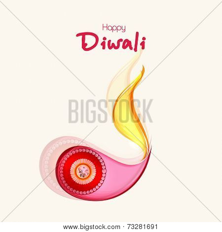 Pearl decorated colorfull illuminated oil lit lamp with stylish text of Diwali for Diwali celebration.