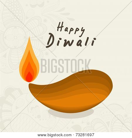 Illuminated oil lit lamp with stylish text of Diwali for Diwali celebration on floral decorated background.