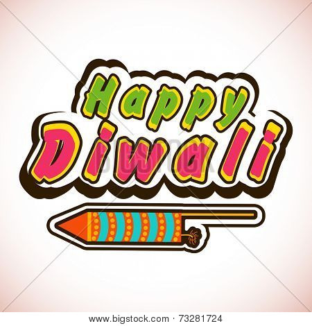 Deepawali celebration with stylish text of Diwali and firecracker.
