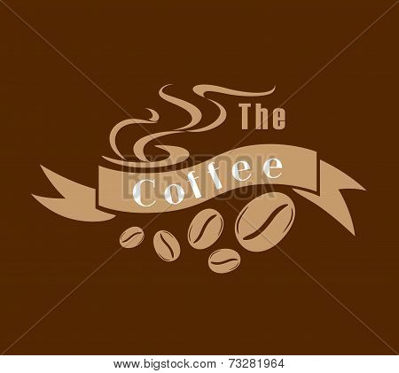 Coffee emblem in brown and white