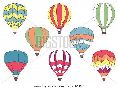 Flying colorful hot air balloon icons