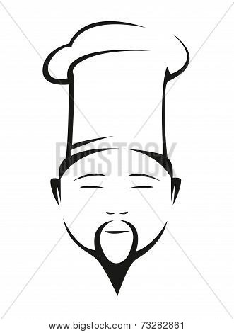 Oriental chef in a traditional white toque