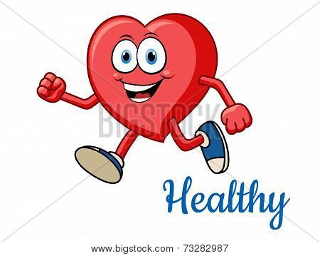Running healthy red heart character