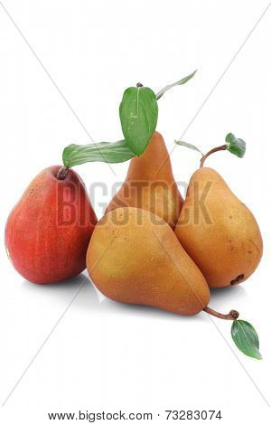red and gold pears isolated over white background