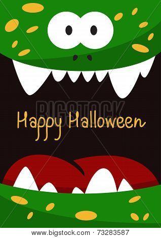 Halloween Holiday Gift Card  With Green Smiling Monster