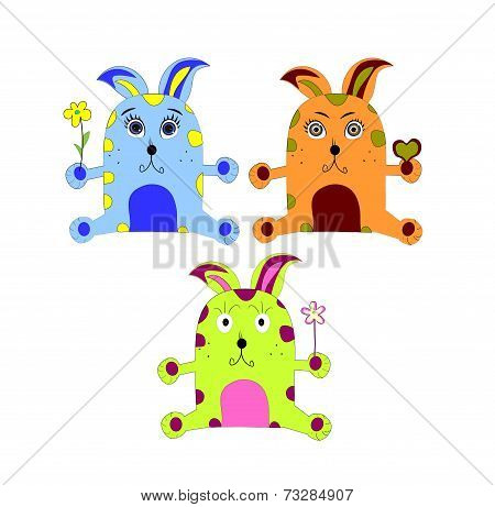 Rabbits Set On White Background