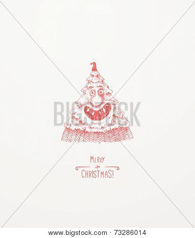 One Happy Tree. Christmas Tree Character. Christmas greeting card