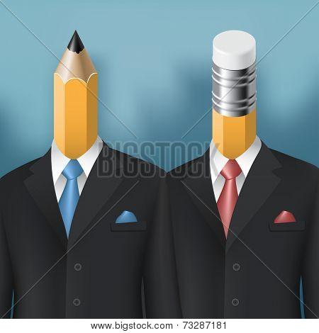 pencil and eraser men business concept