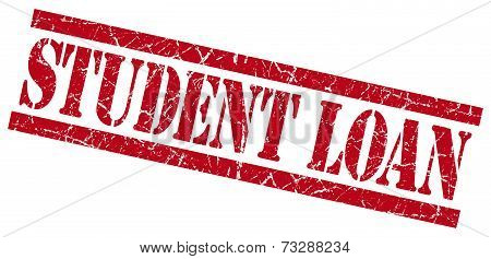 Student Loan Red Square Grunge Textured Isolated Stamp