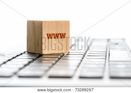Www Wooden Block On Computer Keyboard