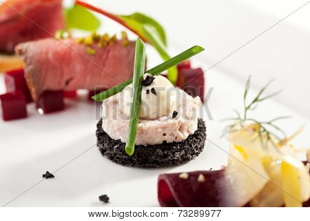 Pate Canapes with Onions over White