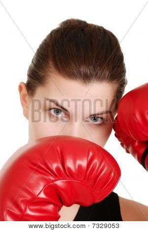 headshot young female boxer