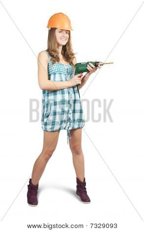 Girl  In A Hard Hat With Drill