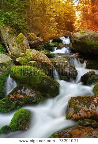 Autumnal landscape with mountain creek in national park Sumava - Czech Republic