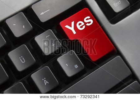 Keyboard Red Enter Button Yes