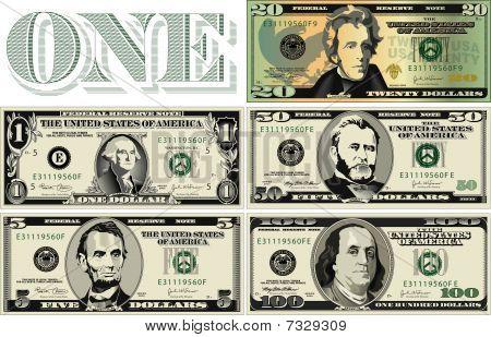 Stylized drawings of Dollar Bills