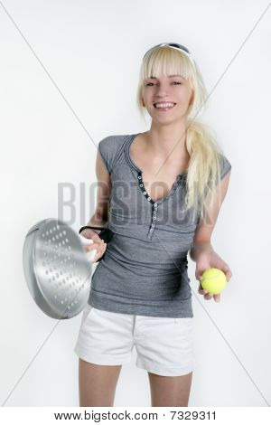 Paddle Tennis Sport Blonde Young Beautiful Girl