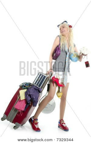 Blonde Shopping Girl Vacation Metaphor Suitcase Full