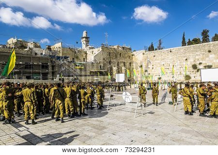 Combat Units In The Israeli Army Were Sworn Near The Wailing Wall In Jerusalem