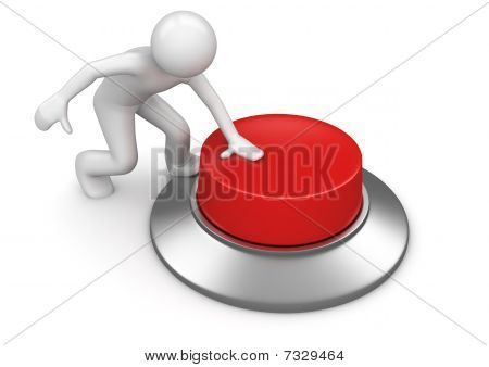 Man Pressing Red Emergency Button