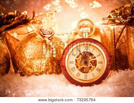 Christmas pocket watch still life.