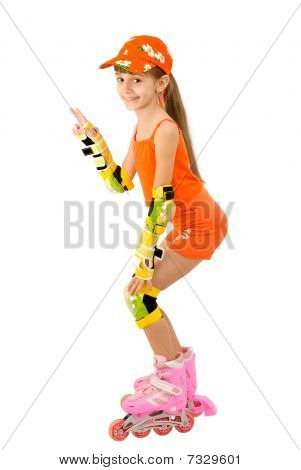 The girl on roller skates