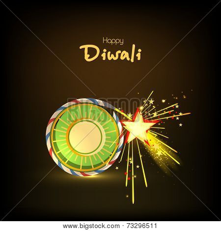 Stylish text of Diwali with exploding cracker for Diwali celebration on shiny background.