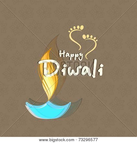 Illuminated oil lit lamp with stylish text of Diwali and Goddess Laxmi's foot print for blessing for Diwali celebration on seamless background.