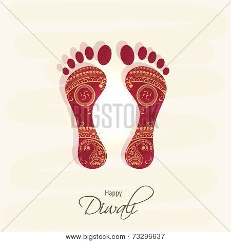 Hindu mythological Goddess Laxmi's footprint for blessing with stylish text of Diwali for Diwali celebration on grungy background.