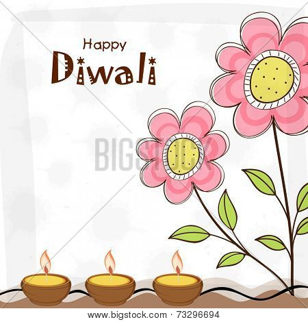Stylish illuminated oil lit lamps with flowers stalk design and text of Diwali for Diwali celebration.