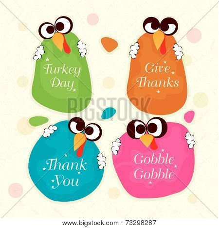 Creative sticky designs holding by turkey birds on beige background for Happy Thanksgiving Day celebrations.