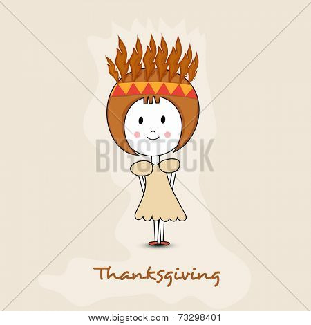 Cute little tribe girl on beige background for Thanksgiving Day celebrations.