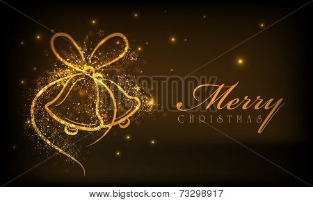 Beautiful Merry Christmas celebrations greeting card design with shiny golden jingle bells on brown background.